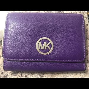 Michael Kors Fulton Purple Leather Wallet